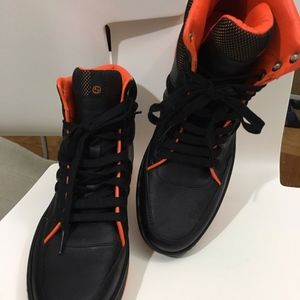 Gucci Shoes - GUCCI Black Leather Lace up High Top Women Sneaker